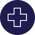 indigo circle with simple line-drawing icon of a medical cross